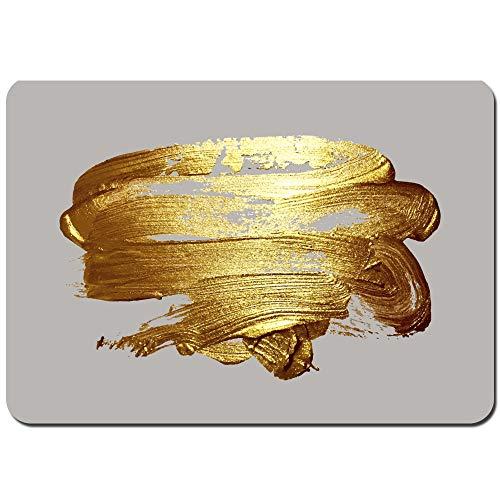 Antideslizante Alfombra De Baño,Mano Realista Dibujo Trazo de Pincel Dorado,Alfombra de Cocina Alfombra Mascota,Alfombras de Ducha 75x45cm