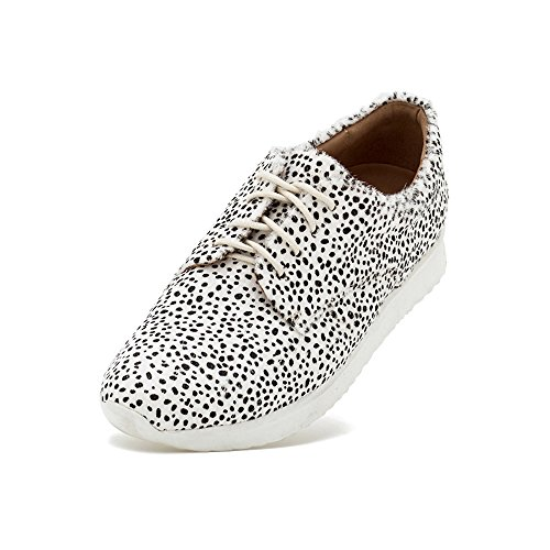 Rollie Women's Derby Sport Snow Leopard Print, Spots Haircalf Sneakers White Athletic Sole Sneakers for Women with Sport Bottom, Size 10 US / 41 EU