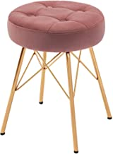 Duhome Modern Ottoman Small Ottoman Foot Rest Stool Round Button Tufted Velvet Ottoman Stool with Gold Metal Legs for Bedr...