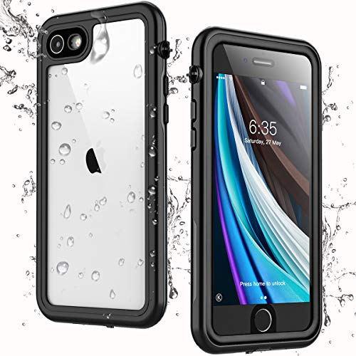 Singdo iPhone SE 2020 Waterproof Case,iPhone 7/8 Waterproof Case, Built-in Screen Protector Full Body Heavy Duty Shockproof IP68 Waterproof Case for iPhone SE 2020/7/8 4.7 inch Black/Clear
