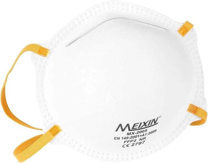 Mascherina ffp2 nr - 20 mascherine - mx-2005 - certificata en 149:2001 + a1:2009 - ce 2797 meixin