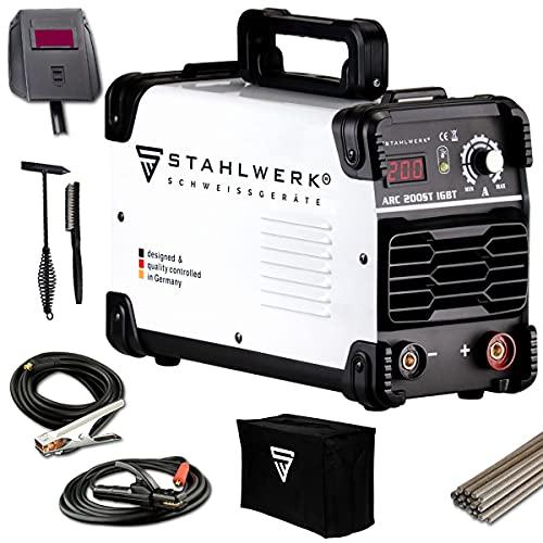 STAHLWERK ARC 200 ST IGBT - máquina de soldar DC MMA/soldadura de electrodos con 200 Amperio reales muy compactos, blanco, 7 años de garantía del fabricante