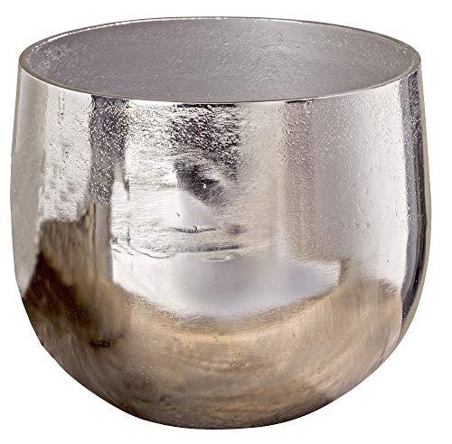 Vase Flaire Übertopf Aluminium Silber Höhe 13-17 cm, Deko, Pflanze, Blumen, Haus, Wohnung (Höhe 17 cm)