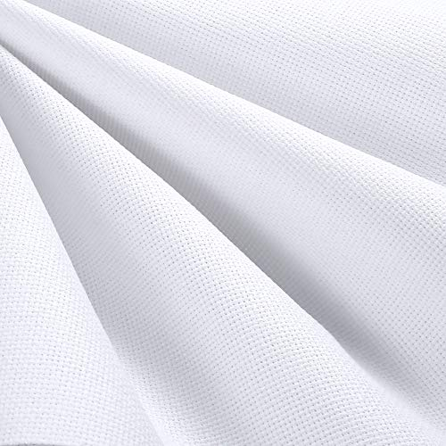 Caydo 59 by 31 Inch 14 Count Big Size Classic Reserve Aida Cloth White Cross Stitch Cloth Fabric