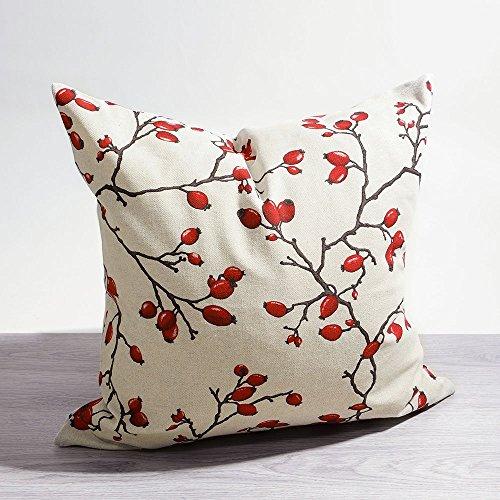 LYSEL Kissen Deko rot Hagebutten Hagebutten 45x45 Baumwolle Polyester Kissenbezug Dekokissen