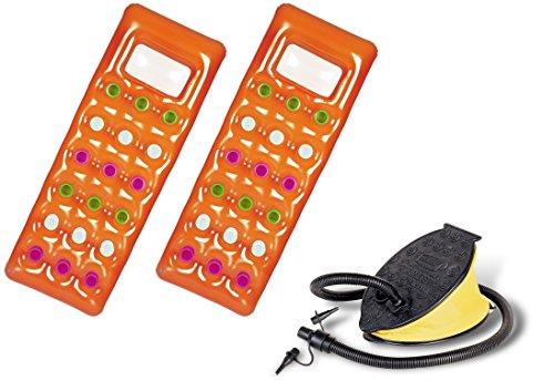 2er Set Bestway 43040 Solar Luftmatratze mit Sichtfenster mit Fußluftpumpe Air Step (188 x 71 cm | 2er Pack + Pumpe, Orange)