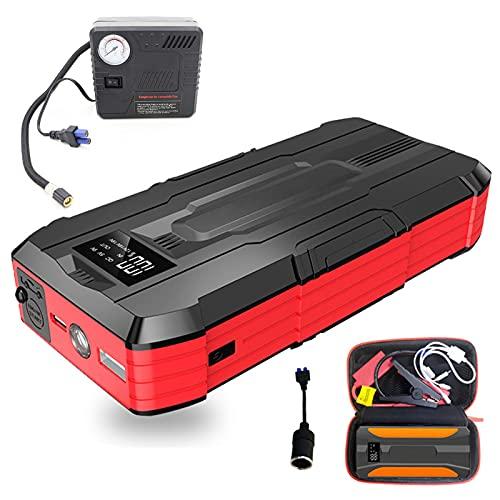 Arrancador De Batería De Coche 12V, Cargador De Batería De Coche Portátil, Con Bomba Inflado Neumáticos Automóvil / Linterna LED / Puerto De Carga USB, Adecuado Para Motores Diésel Y Gasolina De 12V