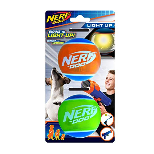 Nerf Dog Nerf Dog 2,5 Zoll LED TPR Bälle 2 Stück, geeignet für Nerf Dog Tennisball Blaster