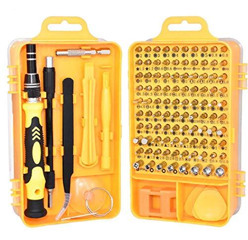 Juego de puntas de destornillador multifunción de precisión de 115 piezas para computadora de teléfono móvil Reparación de PC Herramienta de reemplazo de piezas de desmontaje-Amarillo
