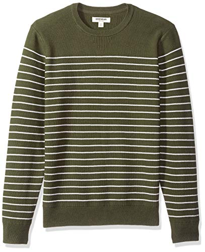 Goodthreads Men's Soft Cotton Multi-Color Striped Crewneck Sweater, Olive/White, Small