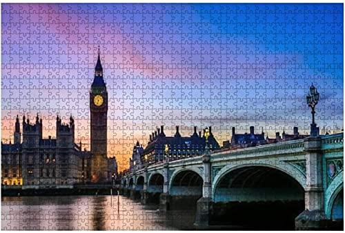1000 piezas: hermosa puesta de sol sobre el horizonte de Londres Descripción general de la casa de rompecabezas de madera Rompecabezas educativos para niños de bricolaje Regalo de descompresión para
