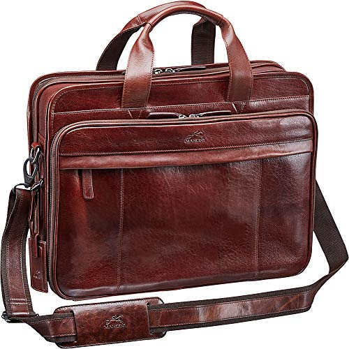 Mancini Leather Goods Vanizia Laptop/Tablet Double Compartment Briefcase with
