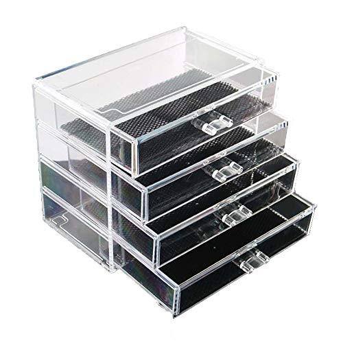 GHKT Caja de Soporte de exhibición cosmética Almacenamiento de joyería cosmética de Escritorio Acrílico Transparente 4 Caja de Almacenamiento de perforación de Cuatro Capas Vestir