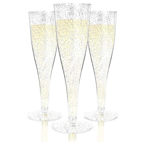 Plastic Champagne Flutes Disposable - 100 Pack | Silver Glitter Plastic Champagne Glasses for Parties | Glitter Clear Plastic Cups | Plastic Toasting Glasses | Mimosa Glasses | Wedding Party Bulk Pack