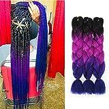 Image of Themis Hair Jumbo Braiding Hair Extensions 3Tones Ombre Color Crochet Hair for Twist Braiding and Box Braiding.(24Inch,3 Bundles/Lot,Black-Purple-Blue)