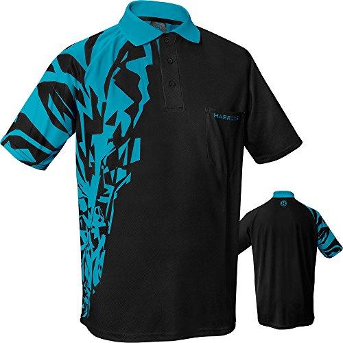 Harrows Rapide Dart-Shirt, atmungsaktiv, mit Tasche, erhältlich in S bis 5XL, Schwarz / Aqua, Large