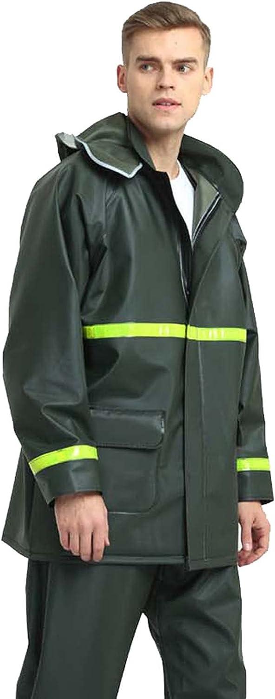 WDYGWQ Rain Suit for Workwear Reflective Waterproof Raincoat Jacket and Pants 2 Pieces Men and Women Same Raincoat ArmyGreen-XXL