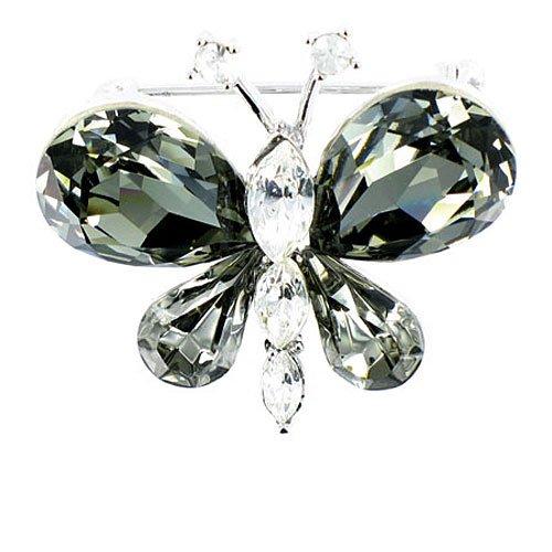 Body Bling Broche de mariposa chapado en plata con piedras preciosas negras