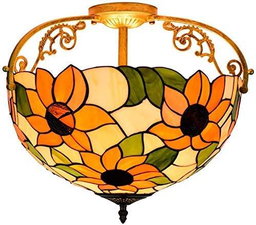 Wtbew-u Lámpara de techo de cristal retro para jardín, lámpara de techo, 30 cm, estilo clásico de arte idílico, lámpara de techo de 16 pulgadas, iluminación de techo interior para dormitorio y balcón