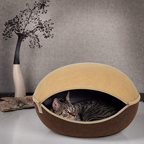 CanadianCat Company ® | Katzenhöhle, Katzenest beige-braun - das Katzenbett mit Stil