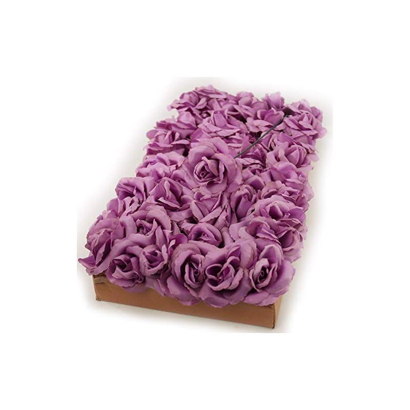 "silk flower arrangements larksilk artificial flowers lilac rose picks for wedding decorations, bouquets, table centerpieces, diy projects - 50pcs silk roses with flexible 8"" stems"