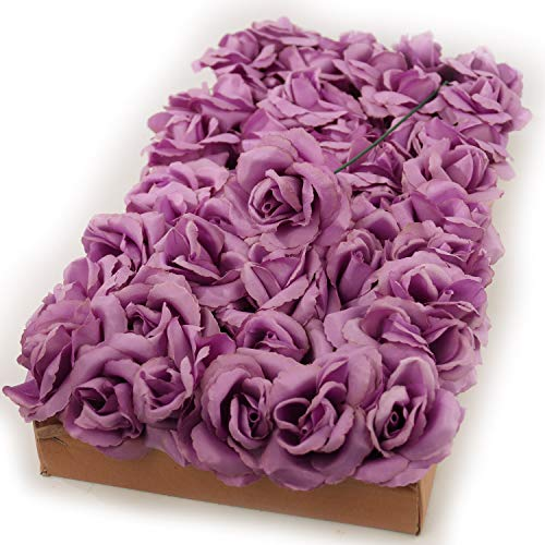 Artificial Flowers Lilac Rose Picks for Wedding Decorations, Bouquets, Table Centerpieces, DIY Projects - 50pcs Silk Roses with Flexible 8' Stems