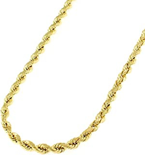 "14K Yellow Gold 3mm Solid Rope Diamond-Cut Braided Link Twist Chain Necklace 16"" - 30"", Men & Women, In Style Designz"