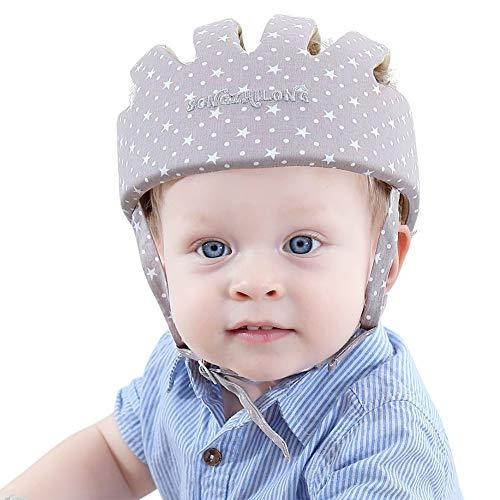 Casco de seguridad ajustable para bebé Protectores para la cabeza Arnés de protección Sombrero Proporciona un entorno más seguro al aprender a gatear Jugar a pie (Estrella Gris)