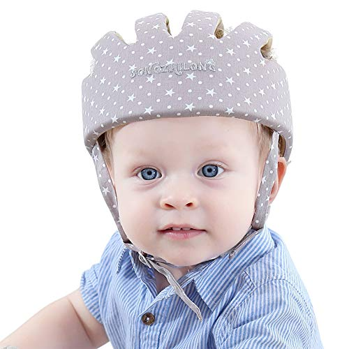 ESUPPORT Baby Adjustable Safety Helmet Headguard Protective Harnesses Hat Providing Safer Environment When Learning to Crawl Walk Play (Star Grey)