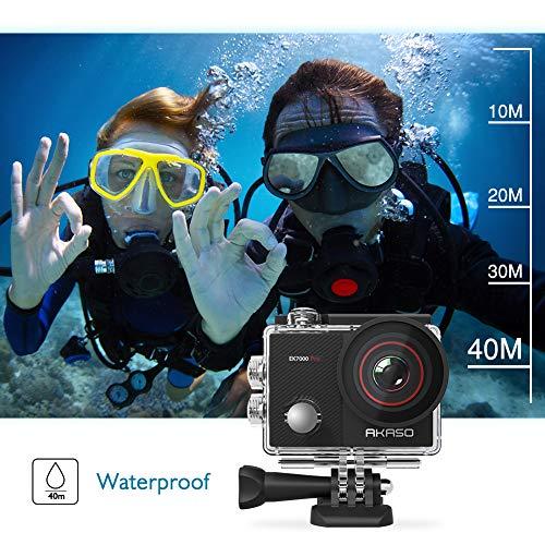 AKASO EK7000 Pro 4K Cámara de acción con pantalla táctil EIS ángulo de visión ajustable 40 m impermeable cámara de control remoto cámara deportiva con kit de accesorios para casco