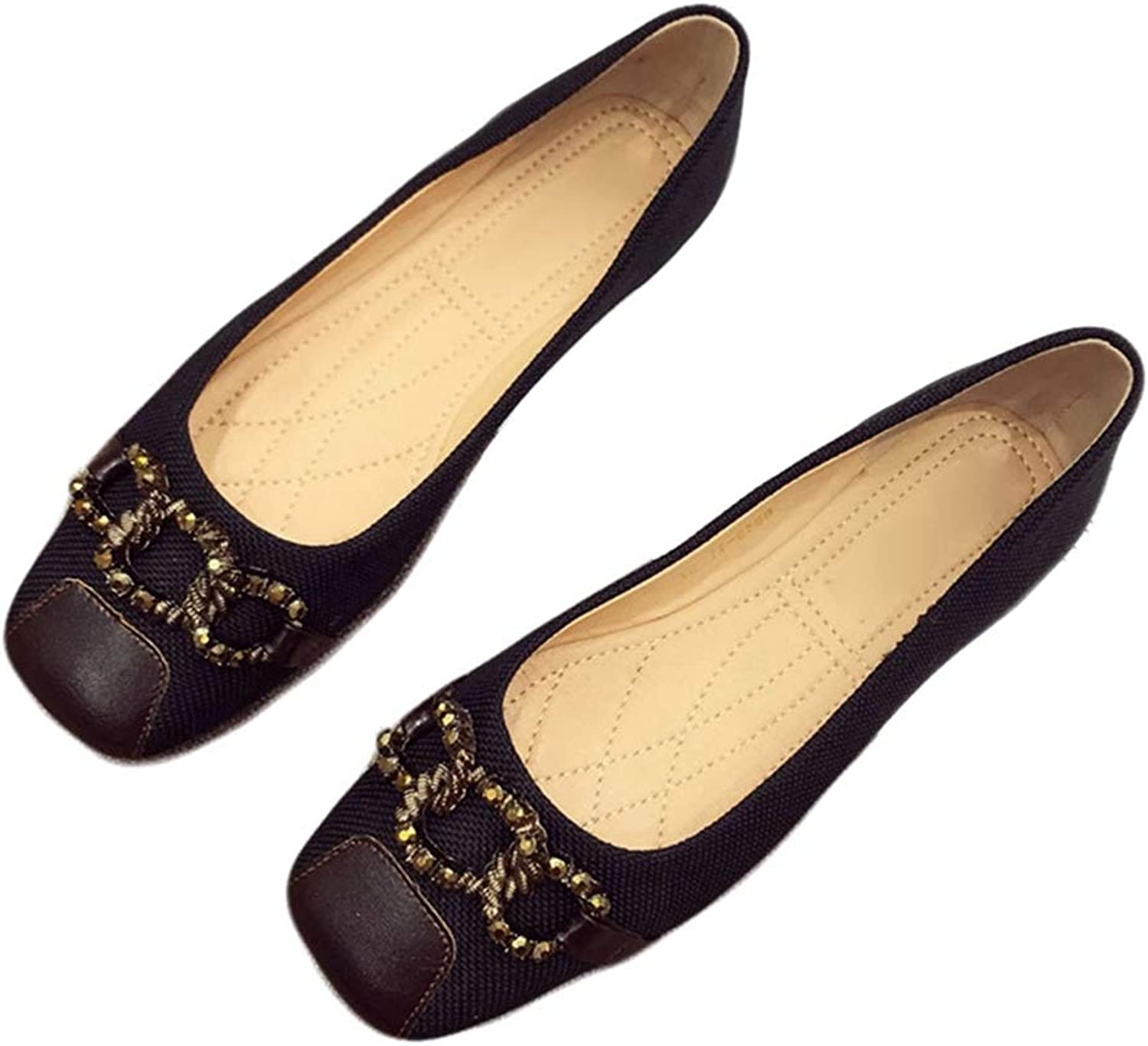 Phil Betty Women Flats shoes Square Toe Slip-On Ballet Low Heel Comfort Boat shoes