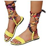 Sandales à Lacets en Daim à imprimé de Couleur satinée et à la Mode pour Femmes