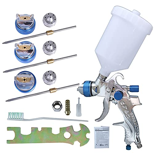 HVLP Juego de herramientas de pistola,Pistola de Pintura de alimentación por gravedad 600CC Con 3 boquillas por Pistola 1.4/1.7/2.0 mm para pintar automóviles,muebles y otros equipos (Blue)