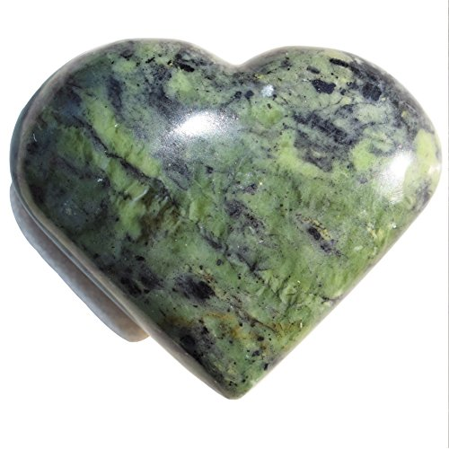 "Zenergy Gems [1] One Charged 2"" Peruvian Nephrite Inca Jade Crystal Hand-Carved Pocket Heart + Selenite Charging Heart [Included]"