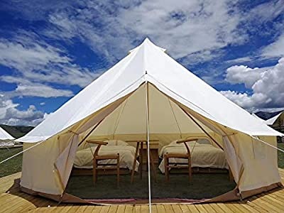Outdoor Waterproof Oxford Cloth Family Camping Bell Tent Resort Glamping Yurt (Creamy-White Bell Tent, Diameter 4 Meter)
