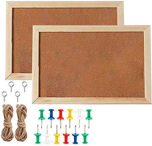 "uyoyous 2 Pack Oak Framed Cork Board Bulletin Board 36 x 24"" Wall Mounted Notice Pin Board Natural Classic Corkboard Vision Corkboard Or Mounted Pin Board for Home School Office Supplies"