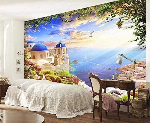 ZZXIAO Aegean Castle Seagull Steamship wandpapier fototapete 3d effekt tapete Wohnzimmer Schlafzimmer Hintergrundbild-430cm×300cm