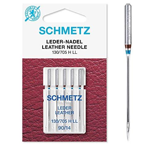 SCHMETZ Nähmaschinennadeln: 5 Leder-Nadeln, Nadeldicke 90/14, 130/705 H LL, auf jeder gängigen Haushaltsnähmaschine einsetzbar, geeignet für das Vernähen von Leder
