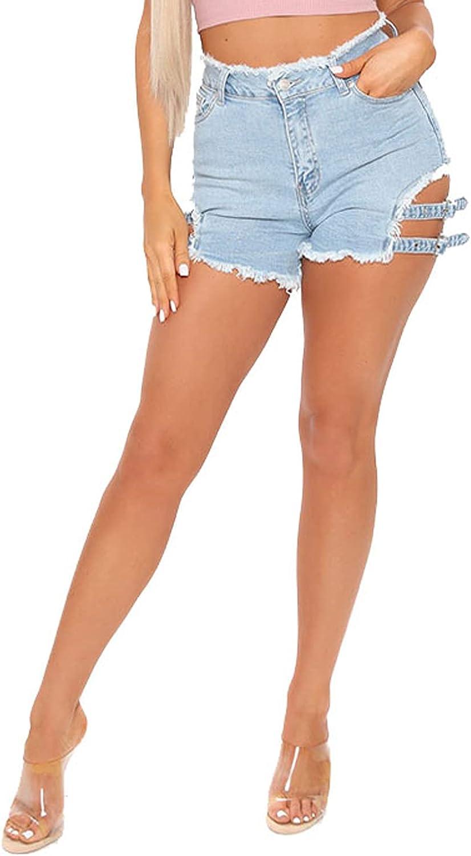 SeNight Women's Denim Shorts High Waisted Frayed Raw Hem Ripped Short Jeans