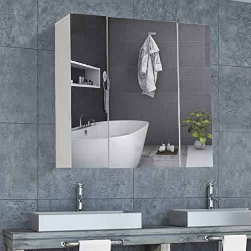 DICTAC armario baño espejo 70x60x15cm armarios con espejo para baño,armario baño,armario de pared con 3 Puertas,mueble de pared baño con espejo,Blanco