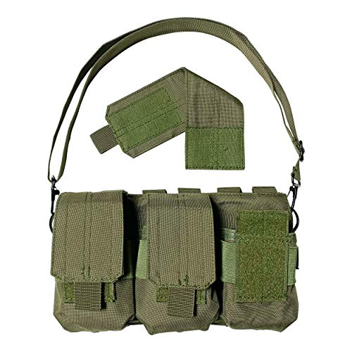 Strike Hard Gear Triple Molle Pouch Bandolier for Shorter Magazines and Clips – SKS, M1 Carbine, AR 20 Round, 308, Archangel and More (OD Green)