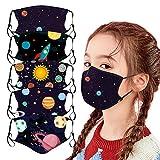 CICIYONER 5 Stück Kinder-Mundschutz mit motiv Cartoon Druck,Waschbar Wiederverwendbar,Baumwolle Stoff Atmungsaktiv,Gesichtsschutz Halstuch Für Jungen Mädchen (G1)