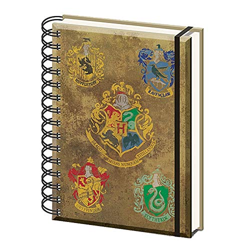 Echte Harry Potter Hogwarts Hauswappen A5 Wiro Hardcover Journal Notizbuch Notizblock aus Papier