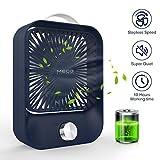 MECO Ventilador de Mesa Silencioso Ventilador USB/Recargable Potente Portátil Oficina Ventilador Ajustable Ventilador Sobremesa Refresco Hogar,Casa Regalo 3.5-10h Funcionamiento, 2400mAh Azul