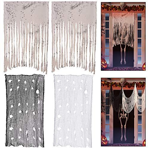 4 Pezzi Tenda Porta di Halloween Inquietante Tenda Porta Decorazione Casa Spaventosa Banner di Stoffa Decorazione Puntelli Fotografici per Festa a Tema di Halloween