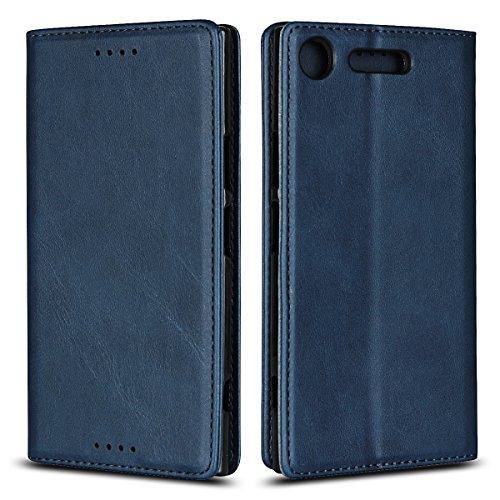 Copmob Sony Xperia XZ1 Hülle,Premium Flip Brieftasche Ledertasche Handyhülle,[3 Kartensteckplatz][Standfunktion][Magnetverschluss],Schutzhülle für Sony Xperia XZ1 - Blau