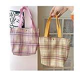WXXT 2 Piezas,Bolsa de Lona,Bolsa Algodon,Bolsas de la Compra Reutilizables,Bolsas de Lona 100% algodón con,Regalo Tote Bag,Bolsa de Playa,Bolsa de Libros(25 * 36cm) Rosa + Amarillo
