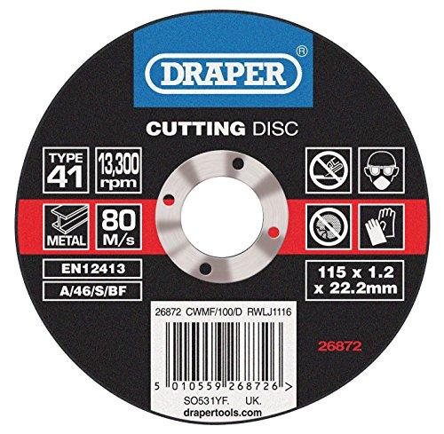 Draper 26872 flat metal cutting wheels in a box of 100 (115 x 22.2 x 1.0mm)