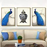 ganlanshu Lienzo Pintura pájaro Flor Pared Arte Hermosa impresión Moderna cabecera decoración del hogar,Pintura sin Marco,40X60cmx3