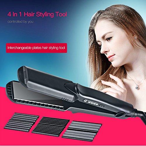 Shuangklei Plancha Cerámica Hair Straightener Infernillo Eléctrico Control De Temperatura Placas Corrugadas...